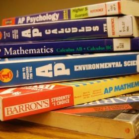 Picture of advanced placement books.